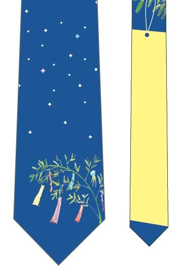 星に願いを短冊ネクタイ(黄)の写真