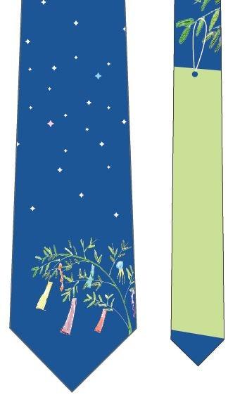 星に願いを短冊ネクタイ(黄緑)の写真
