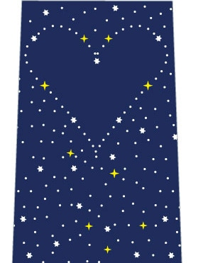 星空にハート(紺)ネクタイの写真