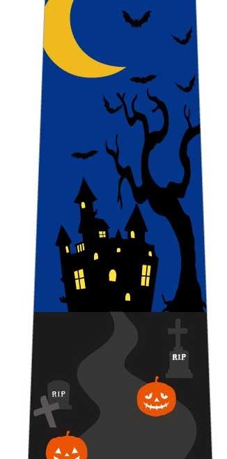 ハロウィンネクタイ(一軒の家)青の写真