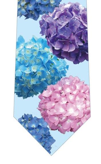 色とりどりの紫陽花ネクタイ(写真)水色の写真