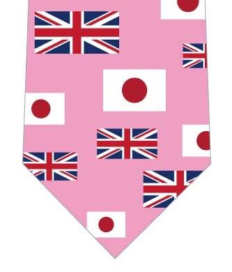 日本とイギリス国旗ネクタイ(横・ピンク)の写真