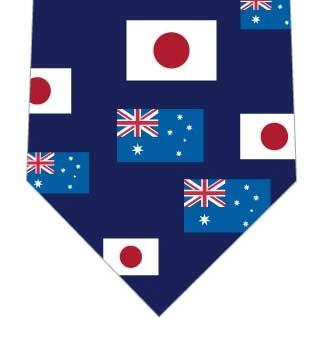 日本とオーストラリア国旗ネクタイ(紺)の写真