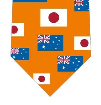 日本とオーストラリア国旗ネクタイ(オレンジ)の写真