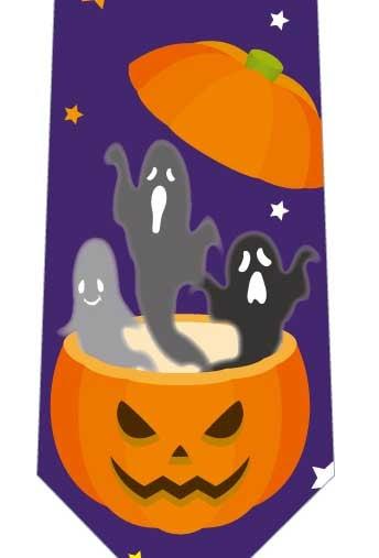 かぼちゃの中からおばけネクタイ(紫)の写真