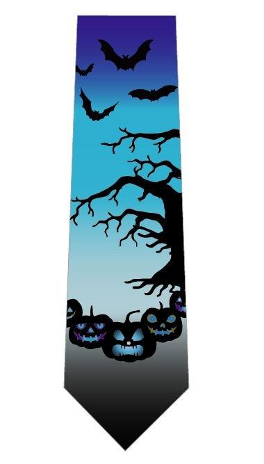 ハロウィンネクタイ(かぼちゃとこうもり)水色の写真