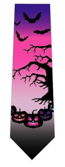 ハロウィンネクタイ(かぼちゃとこうもり)ピンクの写真