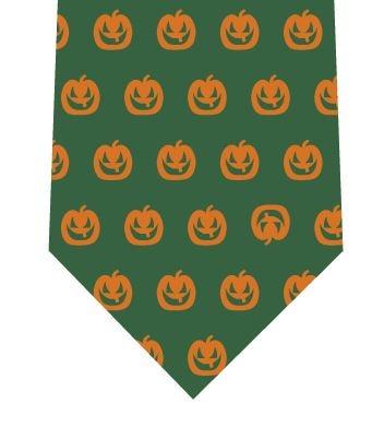 ハロウィンネクタイ(かぼちゃドット)緑の写真