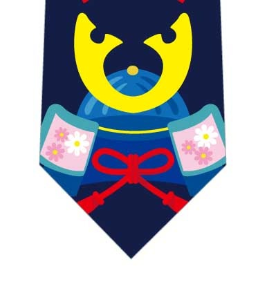 兜並んだネクタイ(紺)の写真