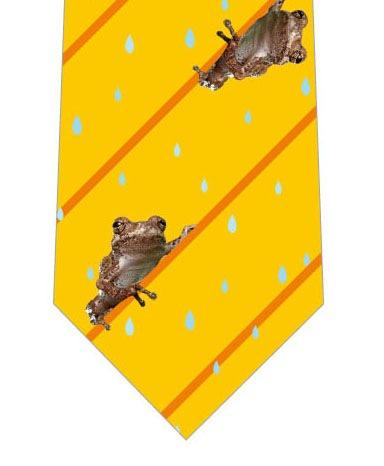 カエルストライプネクタイ(黄色)の写真