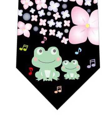 カエルの合唱ネクタイ(黒)の写真