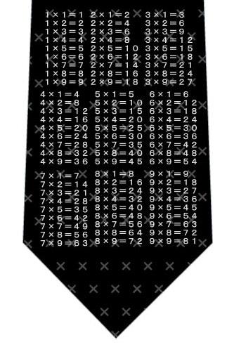 掛け算九九ネクタイ(黒)ネクタイの写真