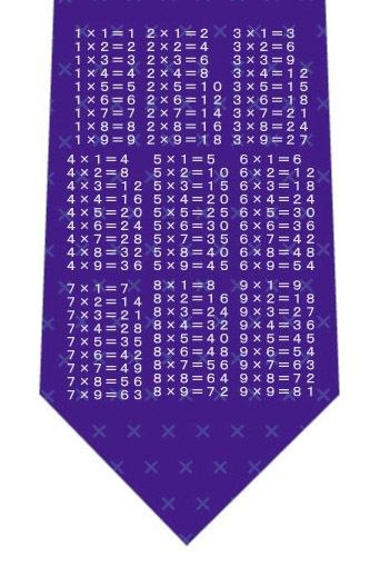 掛け算九九ネクタイ(紫)ネクタイの写真