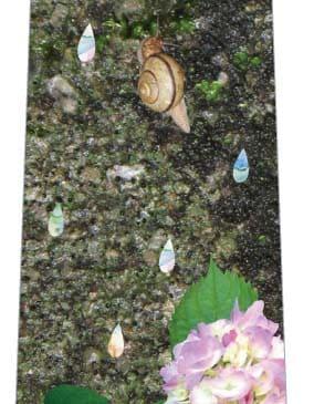 カタツムリのいる風景ネクタイの写真