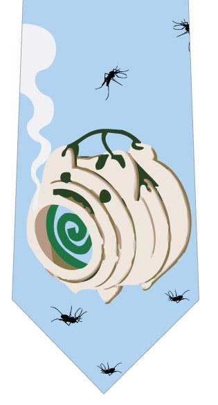 蚊取線香と蚊ネクタイ(水色)の写真