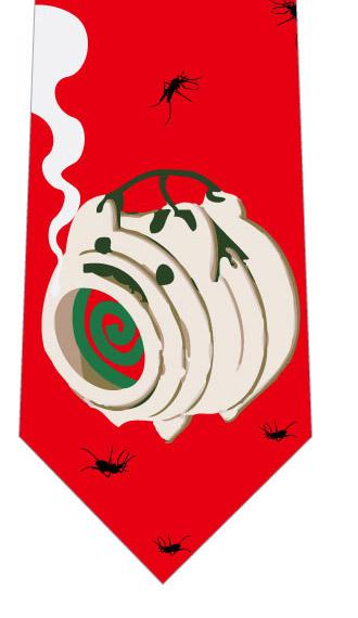 蚊取線香と蚊ネクタイ(赤)の写真