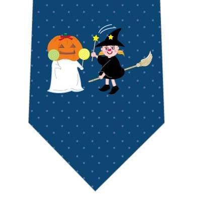 かわいい魔女とかぼちゃおばけネクタイの写真