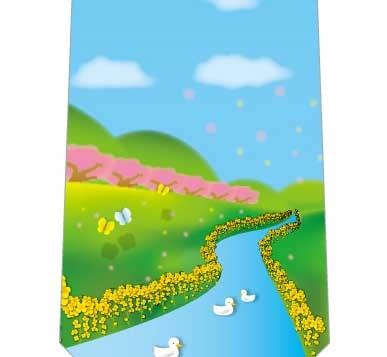 川と菜の花ネクタイの写真