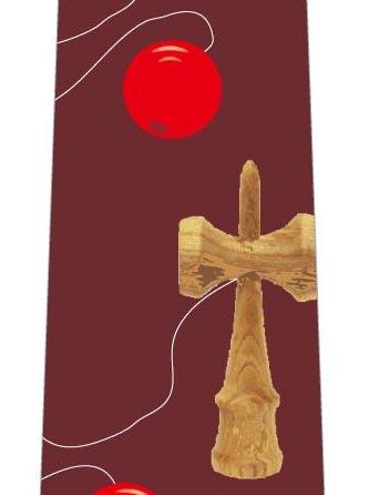 けん玉ネクタイ(赤茶色)の写真