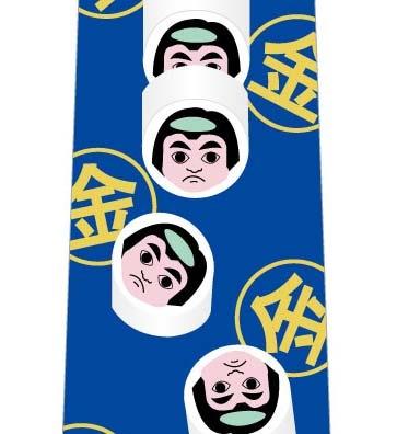 金太郎飴の断面ネクタイ(青)の写真