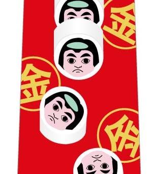 金太郎飴の断面ネクタイ(赤)の写真