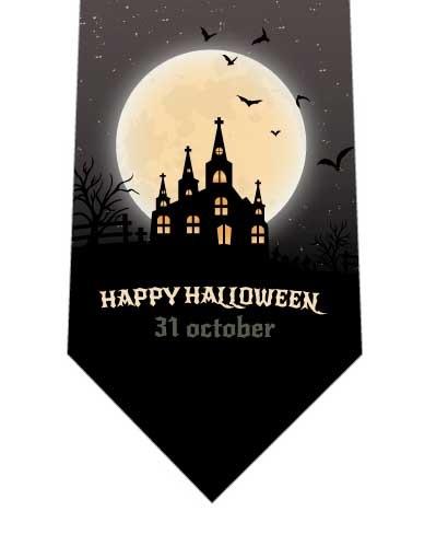 キラキラ光る月と城ネクタイの写真