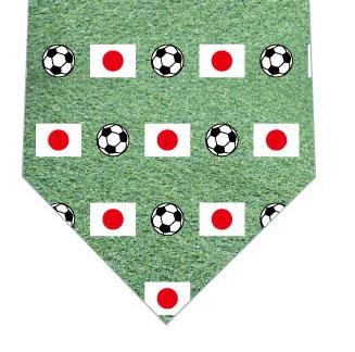 日本国旗とサッカーボールネクタイの写真