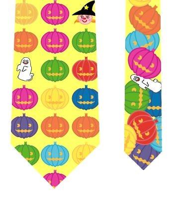 ハロウィンネクタイ(魔女のかぼちゃパズル)黄の写真