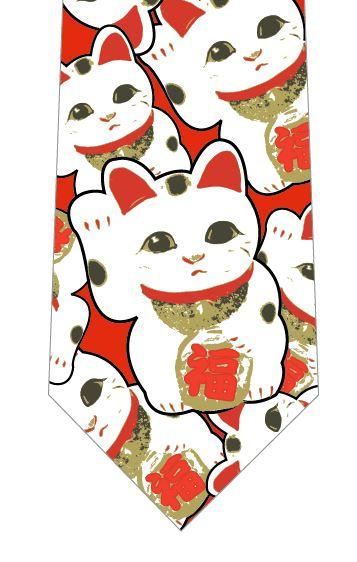 招き猫いっぱいネクタイの写真