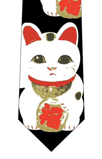 招き猫(大)ネクタイの写真