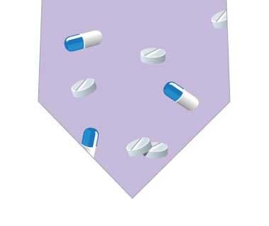 カプセルと錠剤ネクタイ(薄紫)の写真