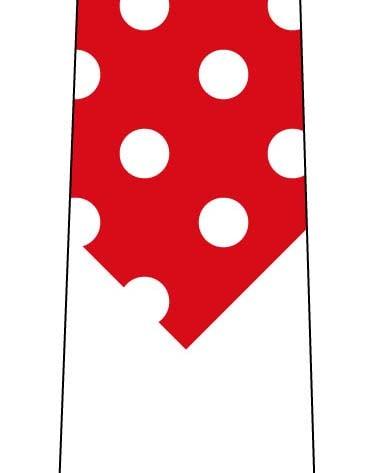 短く見えるネクタイ(水玉 赤×白)の写真