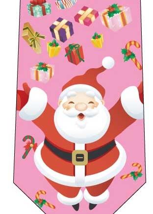 クリスマスネクタイ(みんなへプレゼント)ピンクの写真