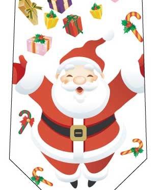 クリスマスネクタイ(みんなへプレゼント)白の写真