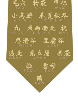 珍しい名字ネクタイ(オリーブ色)の写真