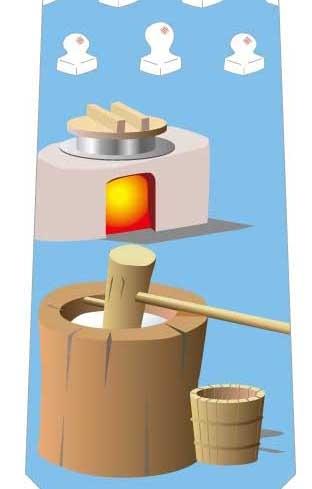 餅つきネクタイ(水色)の写真