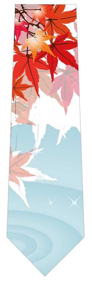 紅葉と水の波紋ネクタイの写真