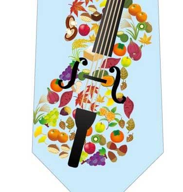 音楽の秋ネクタイ(水色)の写真