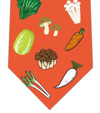 鍋の具材ネクタイ(朱色)の写真