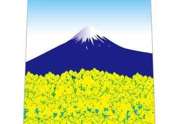 菜の花と富士山ネクタイの写真