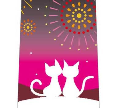 猫の花火観賞ネクタイの写真
