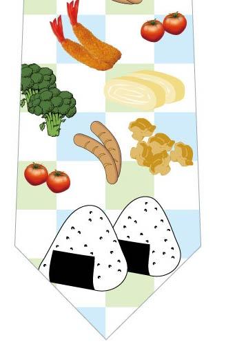 お弁当ネクタイ(黄緑×水色)の写真