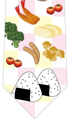 お弁当ネクタイ(黄色×ピンク)の写真