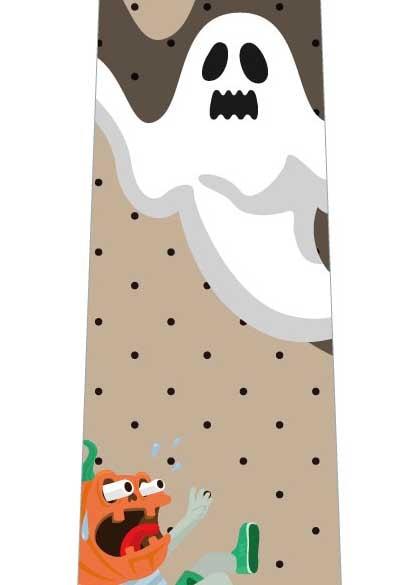 ハロウィン(オバケに驚くかぼちゃ)ネクタイ(茶色)の写真