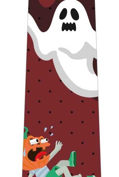 ハロウィン(オバケに驚くかぼちゃ)ネクタイ(エンジ)の写真