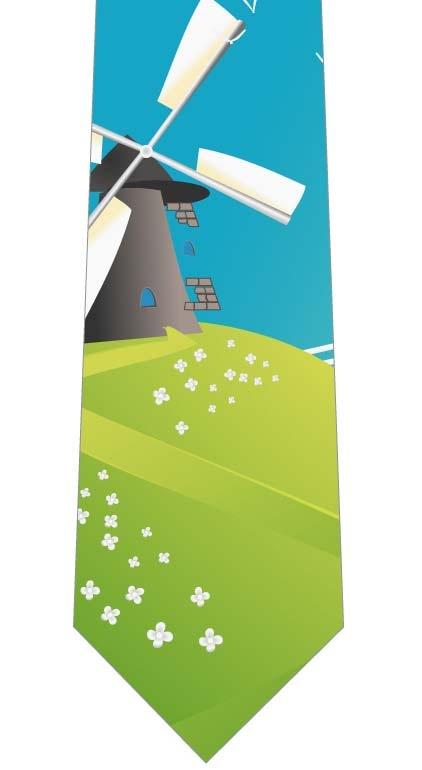 丘の上の風車ネクタイの写真