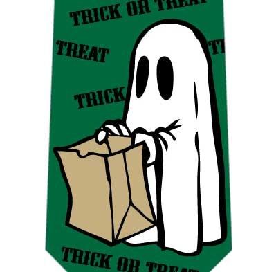 お菓子を求めるおばけネクタイ(緑)の写真