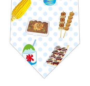 お祭り満載ネクタイ(水色)の写真