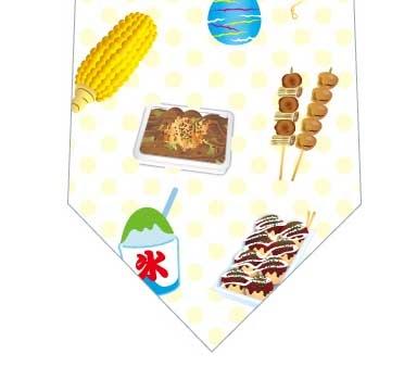 お祭り満載ネクタイ(黄色)の写真