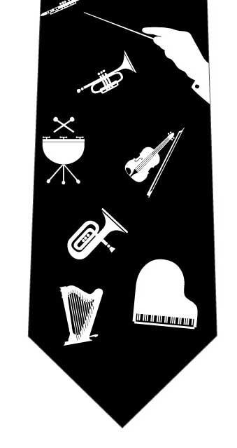オーケストラのようなネクタイ(黒)の写真